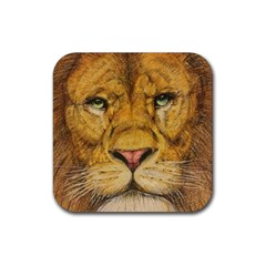 Regal Lion Drawing Rubber Coaster (square)  by KentChua