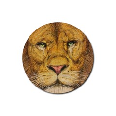Regal Lion Drawing Rubber Round Coaster (4 Pack)  by KentChua