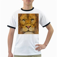 Regal Lion Drawing Ringer T Shirts by KentChua