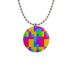 Colorful Tetris Shapes 			1  Button Necklace by LalyLauraFLM