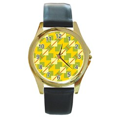 Squares And Stripes round Gold Metal Watch by LalyLauraFLM