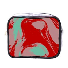 Red pink green texture Mini Toiletries Bag (One Side) by LalyLauraFLM