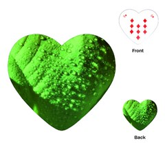 Green And Powerful Playing Cards (heart)  by timelessartoncanvas