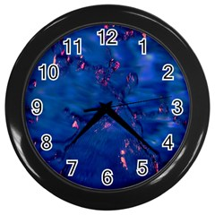Dark Blue Waters With Hints Of Pink Wall Clocks (black) by timelessartoncanvas