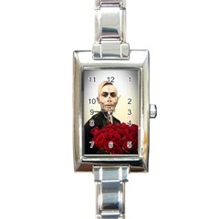 Halloween Skull Tux And Roses  Rectangle Italian Charm Watches by KentChua