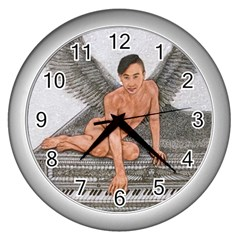 Angel And The Piano Drawing Wall Clocks (silver)  by KentChua