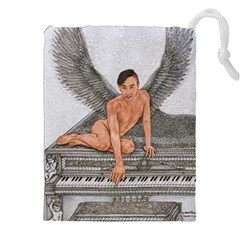 Angel And The Piano Drawing Drawstring Pouches (xxl) by KentChua
