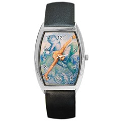 Zodiac Signs Pisces Drawing Barrel Metal Watches by KentChua