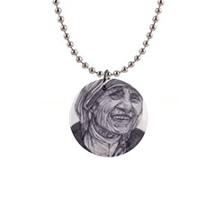 Mother Theresa  Pencil Drawing Button Necklaces by KentChua
