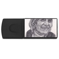 Mother Theresa  Pencil Drawing Usb Flash Drive Rectangular (4 Gb)  by KentChua