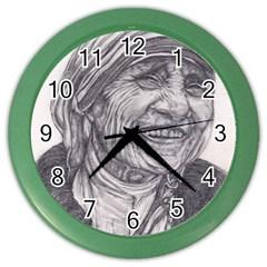 Mother Theresa  Pencil Drawing Color Wall Clocks by KentChua