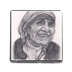 Mother Theresa  Pencil Drawing Memory Card Reader (square) by KentChua
