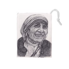 Mother Theresa  Pencil Drawing Drawstring Pouches (medium)  by KentChua