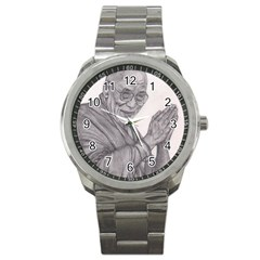 Dalai Lama Tenzin Gaytso Pencil Drawing Sport Metal Watches by KentChua