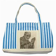 Dalai Lama Tenzin Gaytso Pencil Drawing Striped Blue Tote Bag  by KentChua