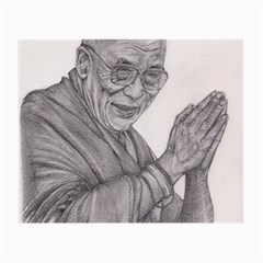 Dalai Lama Tenzin Gaytso Pencil Drawing Small Glasses Cloth (2 Side) by KentChua