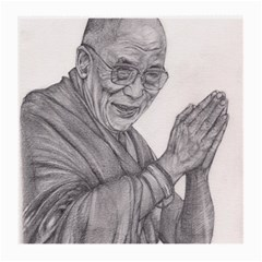 Dalai Lama Tenzin Gaytso Pencil Drawing Medium Glasses Cloth by KentChua