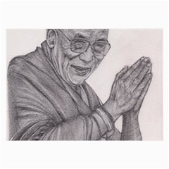 Dalai Lama Tenzin Gaytso Pencil Drawing Large Glasses Cloth by KentChua