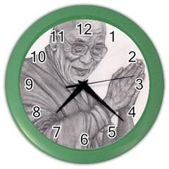 Dalai Lama Tenzin Gaytso Pencil Drawing Color Wall Clocks by KentChua