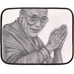 Dalai Lama Tenzin Gaytso Pencil Drawing Double Sided Fleece Blanket (mini)  by KentChua
