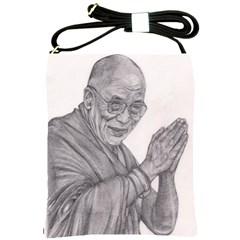 Dalai Lama Tenzin Gaytso Pencil Drawing Shoulder Sling Bags by KentChua