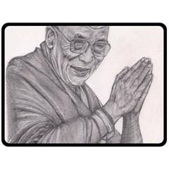 Dalai Lama Tenzin Gaytso Pencil Drawing Fleece Blanket (large)  by KentChua