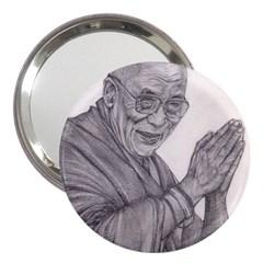 Dalai Lama Tenzin Gaytso Pencil Drawing 3  Handbag Mirrors by KentChua