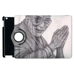 Dalai Lama Tenzin Gaytso Pencil Drawing Apple Ipad 2 Flip 360 Case by KentChua