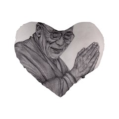 Dalai Lama Tenzin Gaytso Pencil Drawing Standard 16  Premium Heart Shape Cushions by KentChua