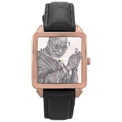 Dalai Lama Tenzin Gaytso Pencil Drawing Rose Gold Watches by KentChua