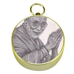 Dalai Lama Tenzin Gaytso Pencil Drawing Gold Compasses by KentChua