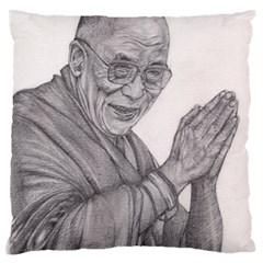 Dalai Lama Tenzin Gaytso Pencil Drawing Large Flano Cushion Cases (two Sides)  by KentChua