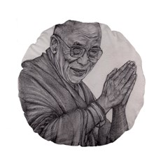 Dalai Lama Tenzin Gaytso Pencil Drawing Standard 15  Premium Flano Round Cushions by KentChua