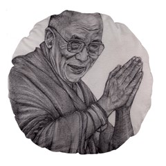 Dalai Lama Tenzin Gaytso Pencil Drawing Large 18  Premium Flano Round Cushions by KentChua
