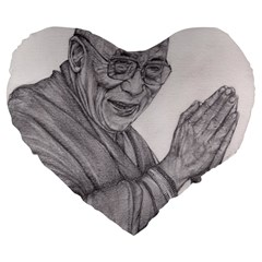 Dalai Lama Tenzin Gaytso Pencil Drawing Large 19  Premium Flano Heart Shape Cushions by KentChua