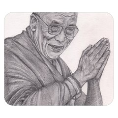 Dalai Lama Tenzin Gaytso Pencil Drawing Double Sided Flano Blanket (small)  by KentChua