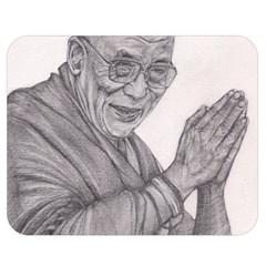 Dalai Lama Tenzin Gaytso Pencil Drawing Double Sided Flano Blanket (medium)  by KentChua