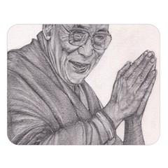 Dalai Lama Tenzin Gaytso Pencil Drawing Double Sided Flano Blanket (large)  by KentChua