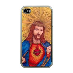Sacred Heart Of Jesus Christ Drawing Apple Iphone 4 Case (clear) by KentChua
