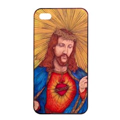 Sacred Heart Of Jesus Christ Drawing Apple Iphone 4/4s Seamless Case (black) by KentChua