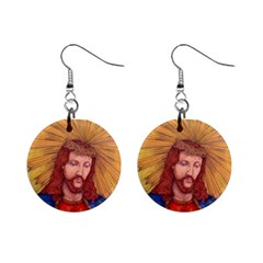 Sacred Heart Of Jesus Christ Drawing Mini Button Earrings by KentChua