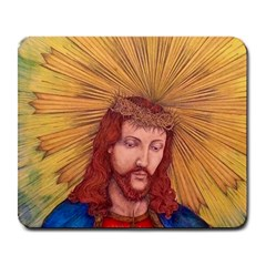 Sacred Heart Of Jesus Christ Drawing Large Mousepads by KentChua