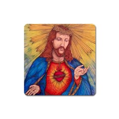 Sacred Heart Of Jesus Christ Drawing Square Magnet by KentChua
