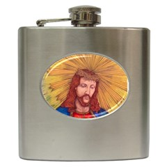 Sacred Heart Of Jesus Christ Drawing Hip Flask (6 Oz) by KentChua