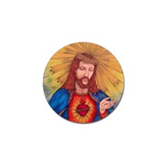 Sacred Heart Of Jesus Christ Drawing Golf Ball Marker by KentChua