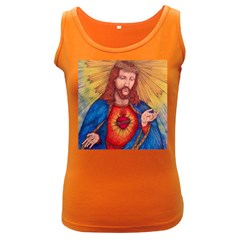 Sacred Heart Of Jesus Christ Drawing Women s Dark Tank Tops by KentChua
