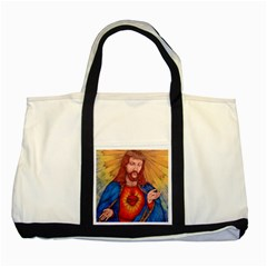 Sacred Heart Of Jesus Christ Drawing Two Tone Tote Bag  by KentChua