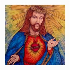 Sacred Heart Of Jesus Christ Drawing Medium Glasses Cloth (2 Side) by KentChua