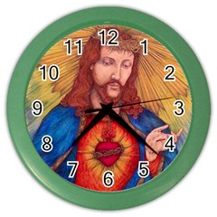 Sacred Heart Of Jesus Christ Drawing Color Wall Clocks by KentChua