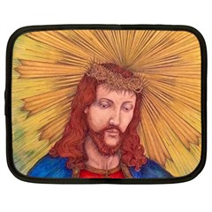 Sacred Heart Of Jesus Christ Drawing Netbook Case (large) by KentChua